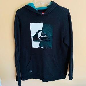 Quiksilver Boy's Black Graphic Hooded Sweatshirt